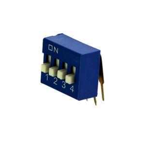DIP přepínač stojatý 4pólový RM2.54 modrý Kaifeng KF1003-04PG-BLUE
