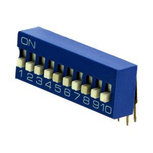 DIP přepínač stojatý 10pólový RM2.54 modrý Kaifeng KF1003-10PG-BLUE