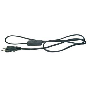 Flexo šňůra PVC 2x0,75mm délka 3m černá barva s vypínačem