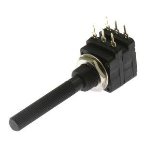 Potenciometr uhlíkový 16mm 0.2W lineární STEREO 1M Ohm horizontální 20% Piher PC16DH10IP06-105A2020-TA
