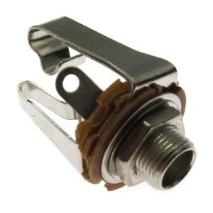 Zásuvka do panelu kovová pro Jack 6.3mm STEREO s vypínačem