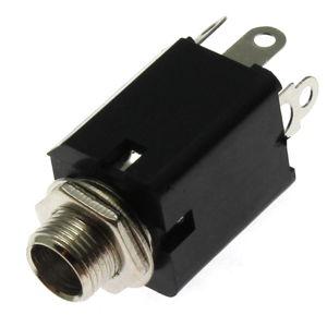 Zásuvka do panelu plastová pro Jack 6.3mm MONO s vypínačem